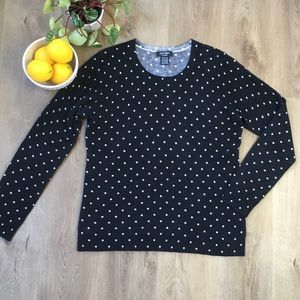 LORD & TAYLOR Blk Wht Polkadot Cashmere Sweater